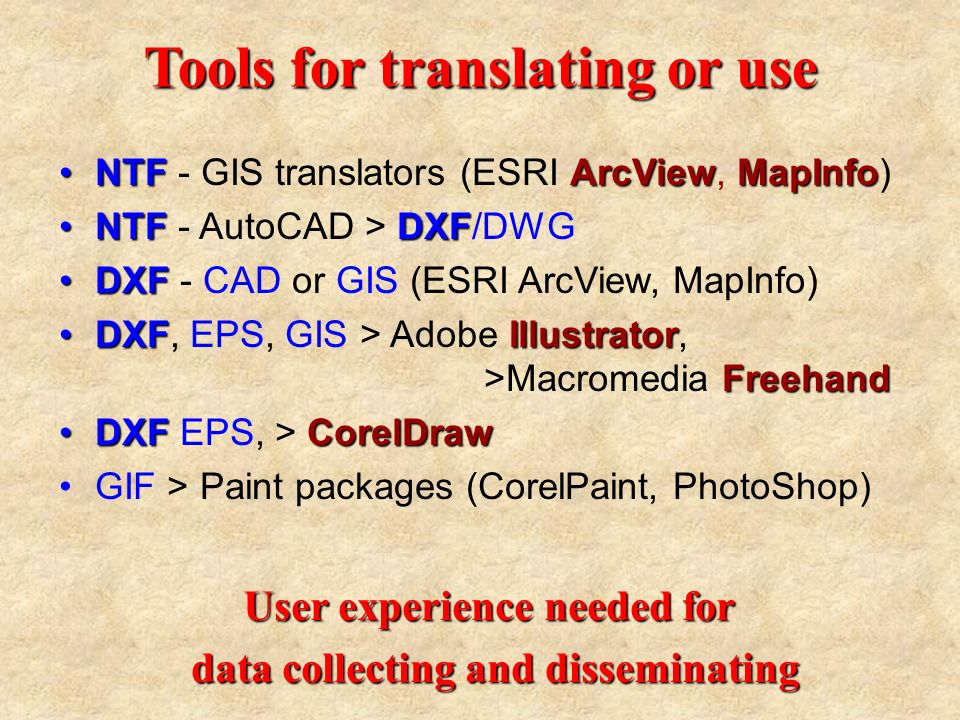 Tools for translating or use NTFArcViewMapInfoNTF - GIS translators (ESRI ArcView, MapInfo) NTFDXFNTF - AutoCAD > DXF/DWG DXFDXF - CAD or GIS (ESRI ArcView, MapInfo) DXF Illustrator FreehandDXF, EPS, GIS > Adobe Illustrator, >Macromedia Freehand DXFCorelDrawDXF EPS, > CorelDraw GIF > Paint packages (CorelPaint, PhotoShop) User experience needed for data collecting and disseminating data collecting and disseminating