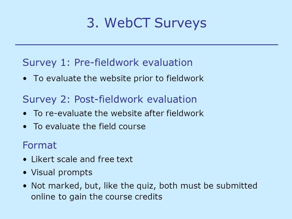 3. WebCT Surveys ________________________________ Survey 1: Pre-fieldwork evaluation To evaluate the website prior to fieldwork Survey 2: Post-fieldwo