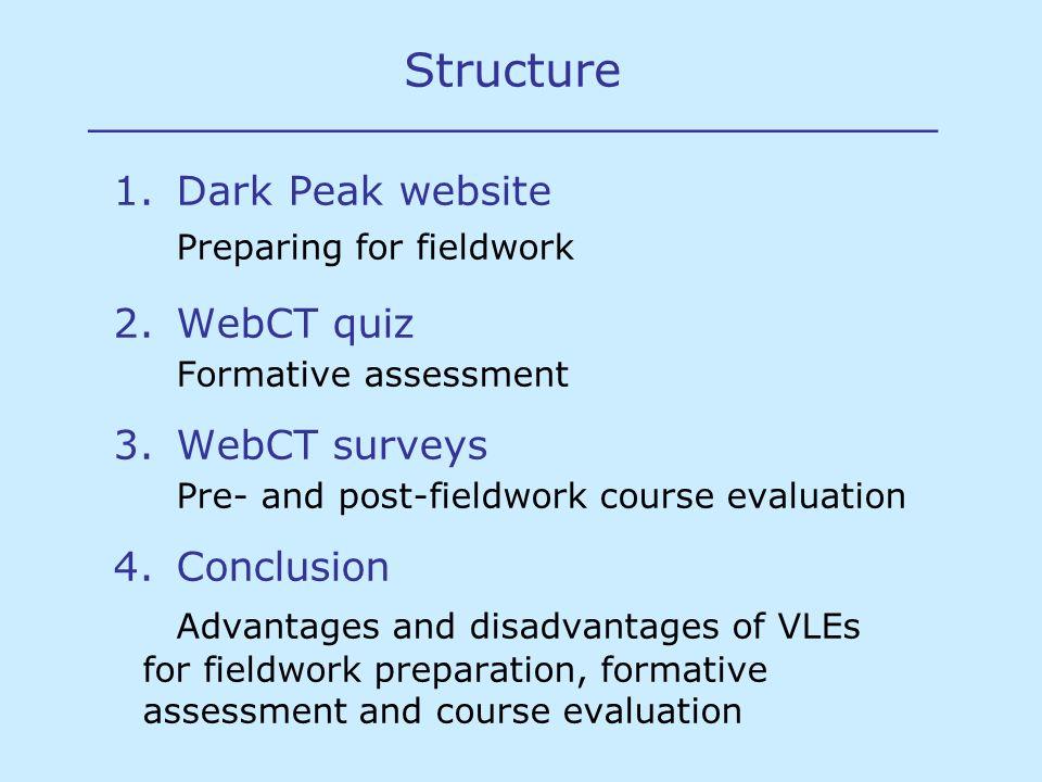 Structure _____________________________ 1.Dark Peak website Preparing for fieldwork 2.WebCT quiz Formative assessment 3.WebCT surveys Pre- and post-fi