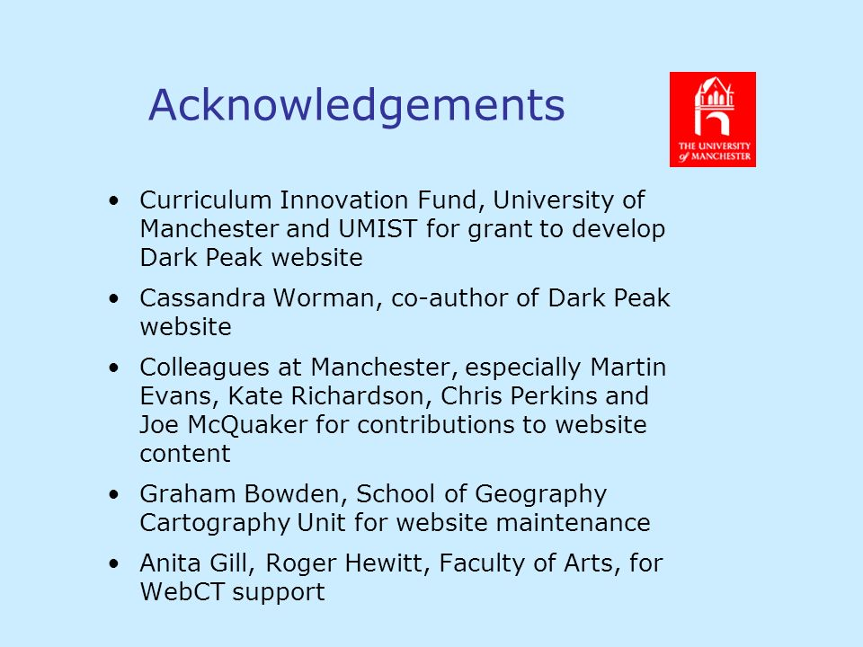 Acknowledgements Curriculum Innovation Fund, University of Manchester and UMIST for grant to develop Dark Peak website Cassandra Worman, co-author of Dark Peak website Colleagues at Manchester, especially Martin Evans, Kate Richardson, Chris Perkins and Joe McQuaker for contributions to website content Graham Bowden, School of Geography Cartography Unit for website maintenance Anita Gill, Roger Hewitt, Faculty of Arts, for WebCT support