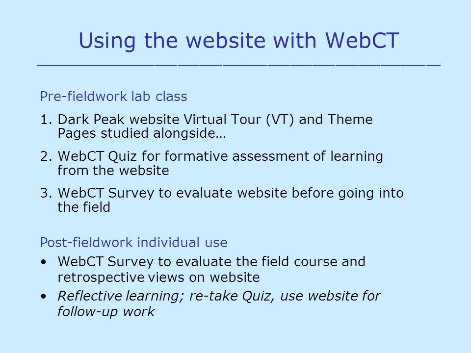 Using the website with WebCT ______________________________________________________ Pre-fieldwork lab class 1. Dark Peak website Virtual Tour (VT) and