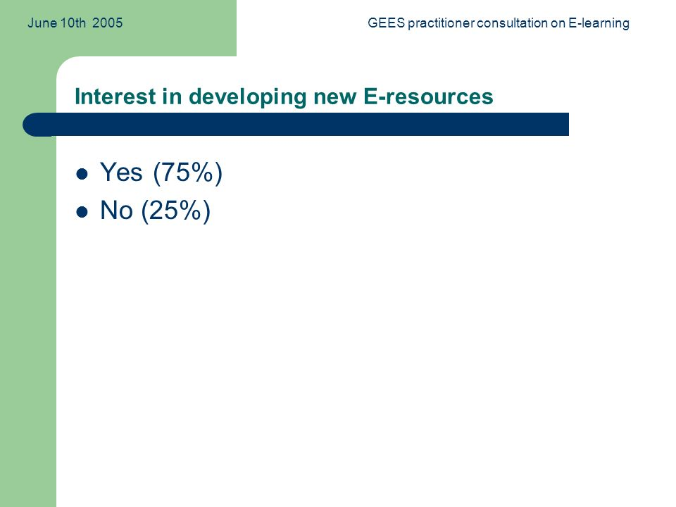 June 10th 2005GEES practitioner consultation on E-learning Interest in developing new E-resources Yes (75%) No (25%)