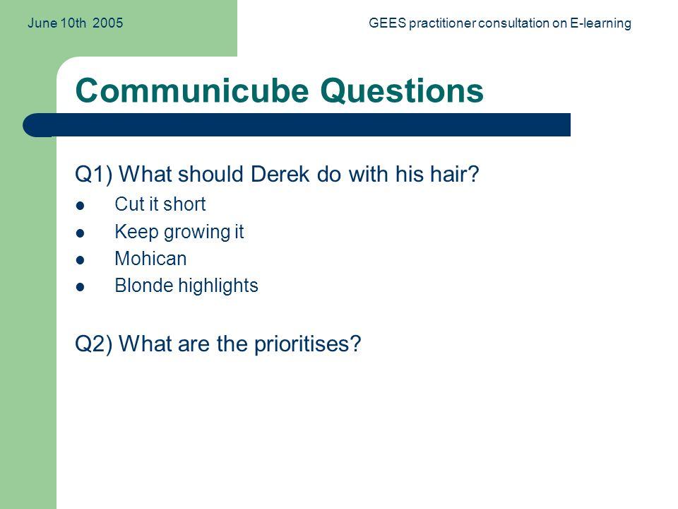 June 10th 2005GEES practitioner consultation on E-learning Communicube Questions Q1) What should Derek do with his hair.