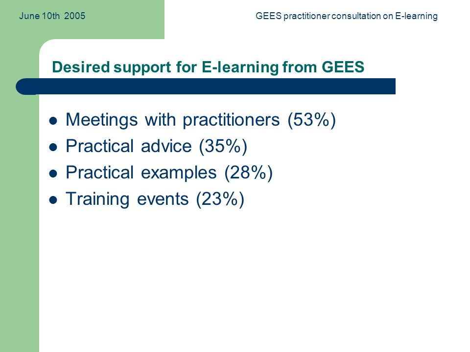 June 10th 2005GEES practitioner consultation on E-learning Meetings with practitioners (53%) Practical advice (35%) Practical examples (28%) Training events (23%) Desired support for E-learning from GEES