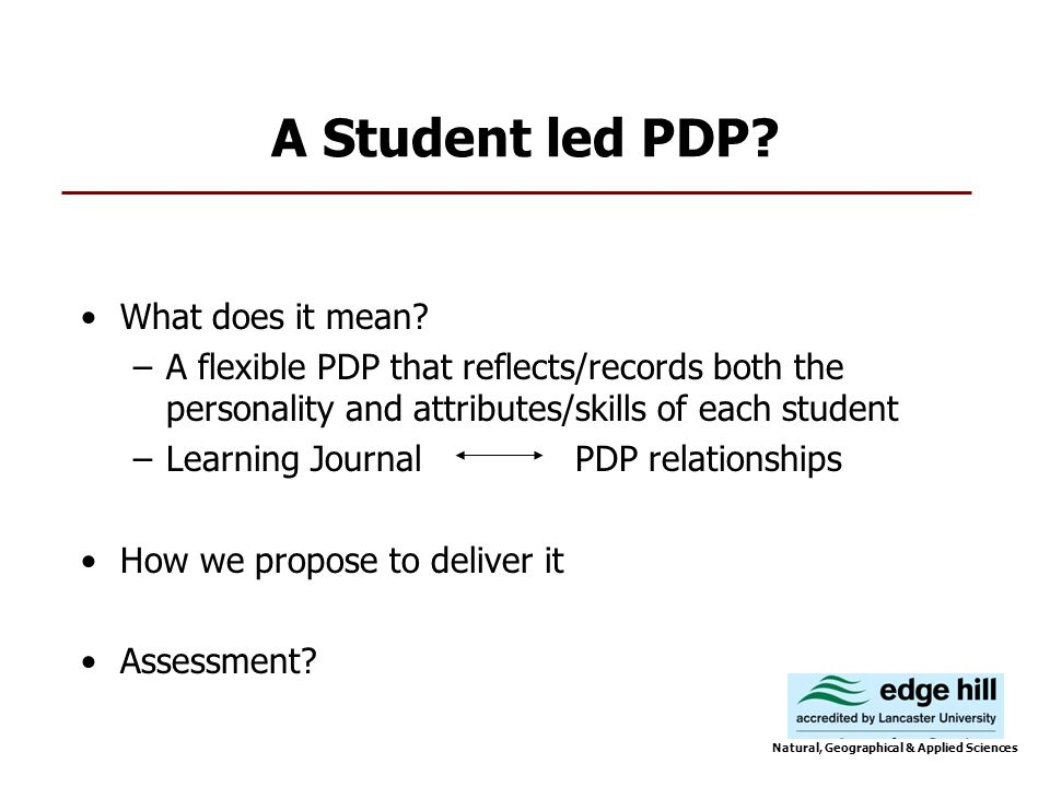 A Student led PDP. What does it mean.