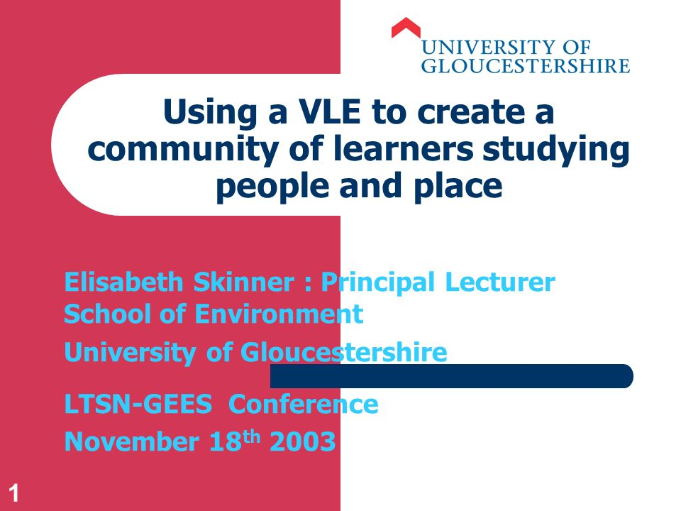 1 Using a VLE to create a community of learners studying people and place Elisabeth Skinner : Principal Lecturer School of Environment University of Gloucestershire LTSN-GEES Conference November 18 th 2003
