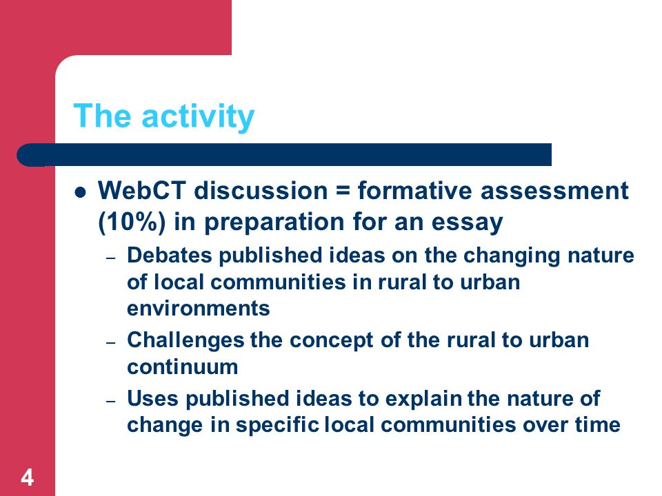4 The activity WebCT discussion = formative assessment (10%) in preparation for an essay – Debates published ideas on the changing nature of local communities in rural to urban environments – Challenges the concept of the rural to urban continuum – Uses published ideas to explain the nature of change in specific local communities over time