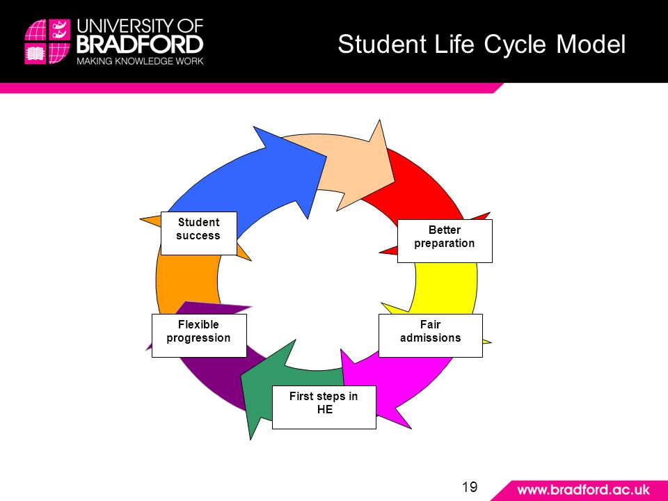 Student Life Cycle Model Better preparation Fair admissions First steps in HE Flexible progression Student success 19 Student Life Cycle Model