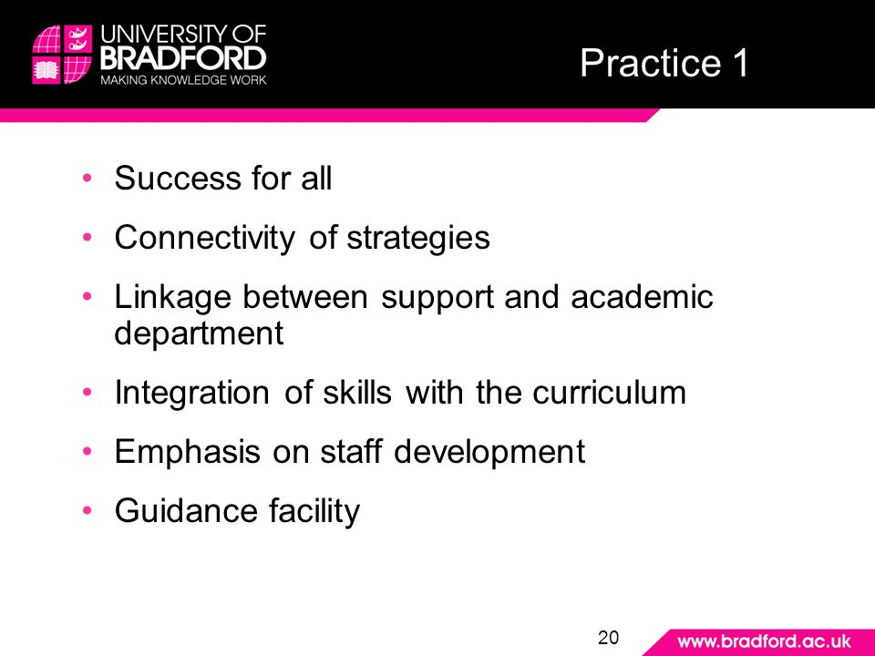 Practice 1 Success for all Connectivity of strategies Linkage between support and academic department Integration of skills with the curriculum Emphasis on staff development Guidance facility 20 Practice 1