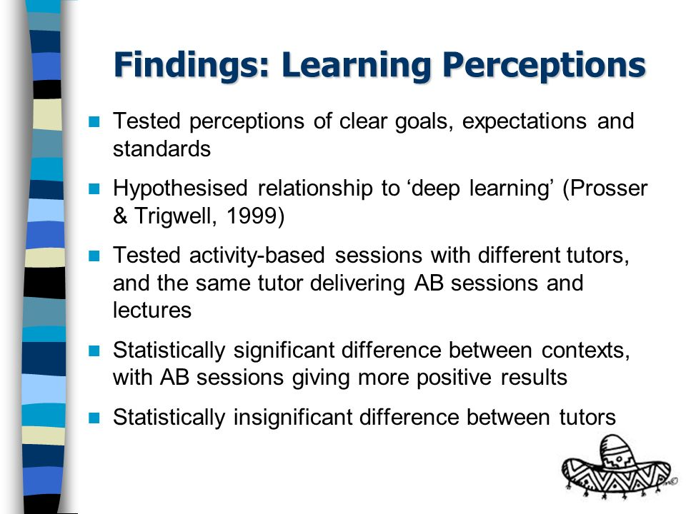 Findings: Learning Perceptions Tested perceptions of clear goals, expectations and standards Hypothesised relationship to deep learning (Prosser & Trigwell, 1999) Tested activity-based sessions with different tutors, and the same tutor delivering AB sessions and lectures Statistically significant difference between contexts, with AB sessions giving more positive results Statistically insignificant difference between tutors