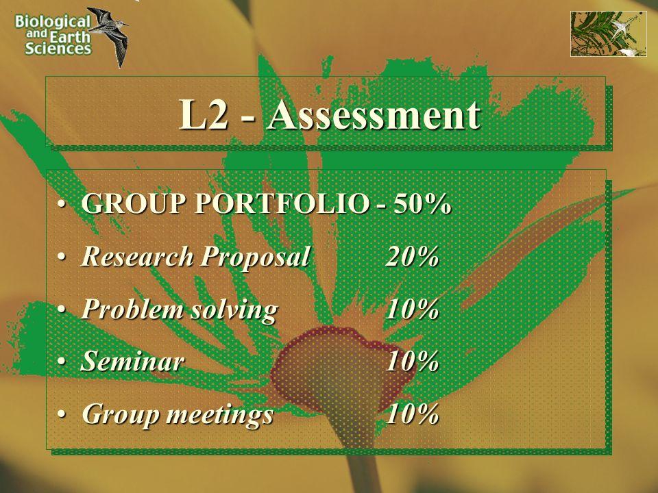 L2 - Assessment GROUP PORTFOLIO - 50%GROUP PORTFOLIO - 50% Research Proposal 20%Research Proposal 20% Problem solving 10%Problem solving 10% Seminar 1