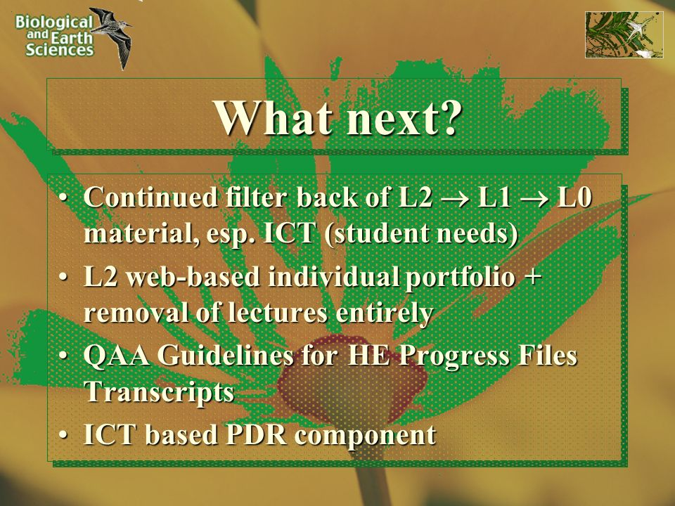 What next. Continued filter back of L2 L1 L0 material, esp.