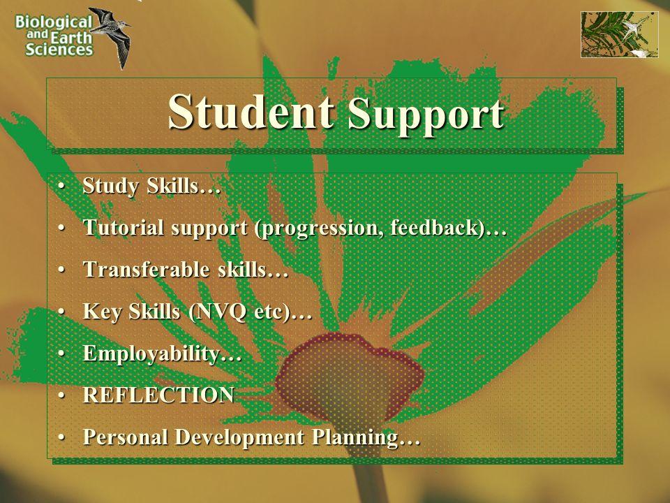 Student Support Study Skills…Study Skills… Tutorial support (progression, feedback)…Tutorial support (progression, feedback)… Transferable skills…Tran