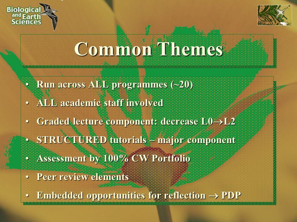 Common Themes Run across ALL programmes (~20)Run across ALL programmes (~20) ALL academic staff involvedALL academic staff involved Graded lecture com