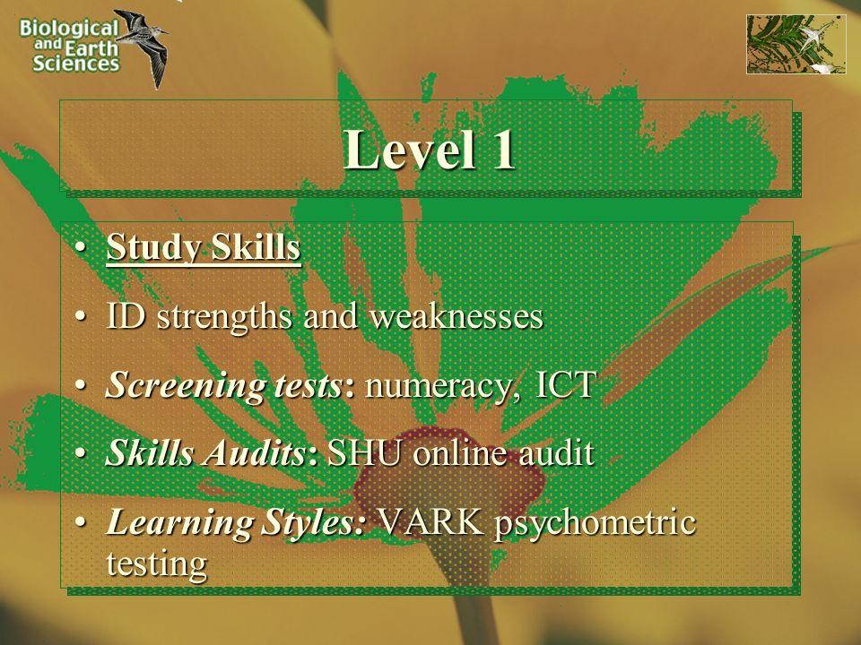 Level 1 Study SkillsStudy Skills ID strengths and weaknessesID strengths and weaknesses Screening tests: numeracy, ICTScreening tests: numeracy, ICT S