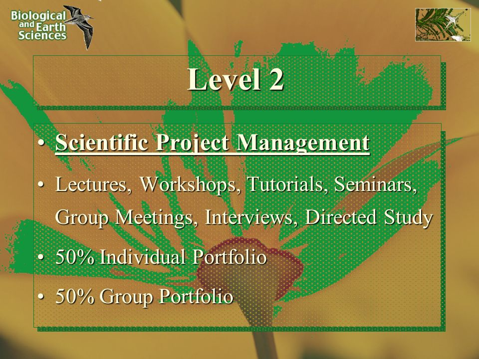 Level 2 Scientific Project ManagementScientific Project Management Lectures, Workshops, Tutorials, Seminars, Group Meetings, Interviews, Directed StudyLectures, Workshops, Tutorials, Seminars, Group Meetings, Interviews, Directed Study 50% Individual Portfolio50% Individual Portfolio 50% Group Portfolio50% Group Portfolio