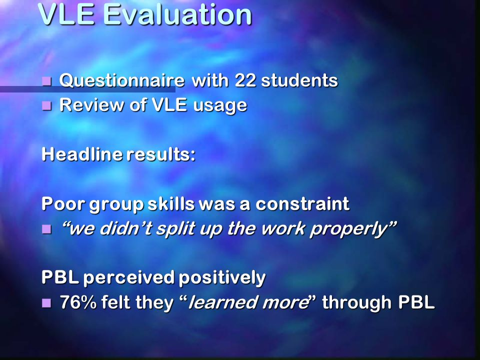 PBL process: 1. Briefing and initial problem orientation 2.