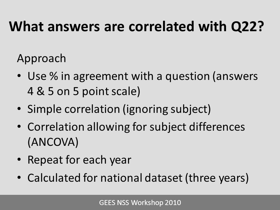 What answers are correlated with Q22? Approach Use % in agreement with a question (answers 4 & 5 on 5 point scale) Simple correlation (ignoring subjec