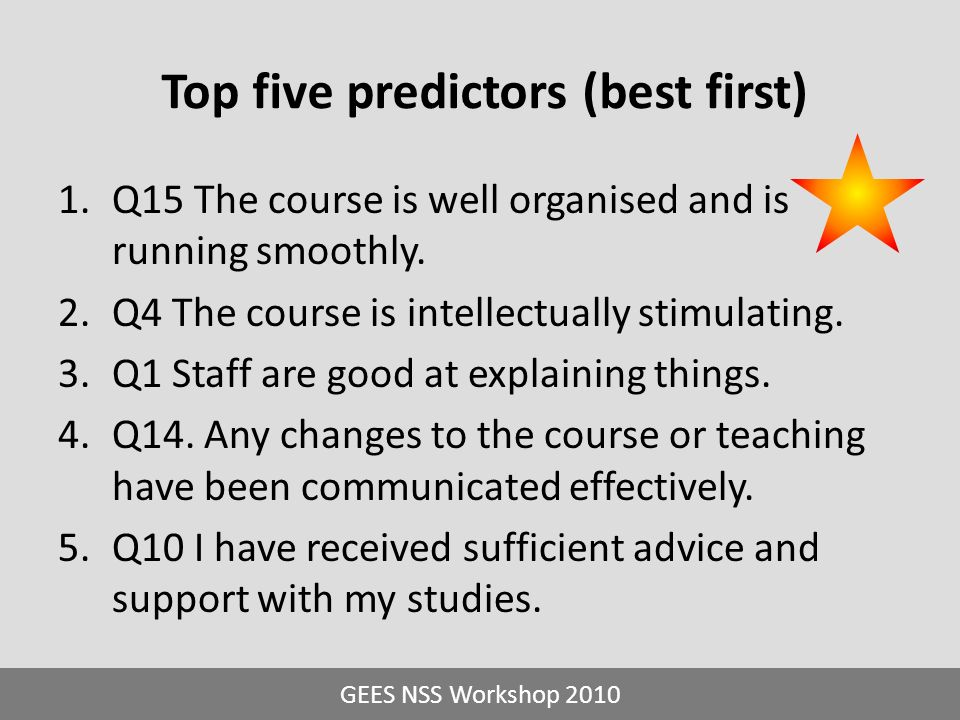 1.Q15 The course is well organised and is running smoothly. 2.Q4 The course is intellectually stimulating. 3.Q1 Staff are good at explaining things. 4