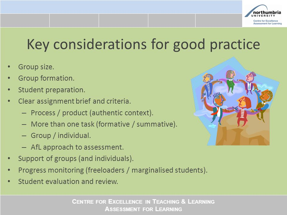 C ENTRE FOR E XCELLENCE IN T EACHING & L EARNING A SSESSMENT FOR L EARNING Key considerations for good practice Group size.