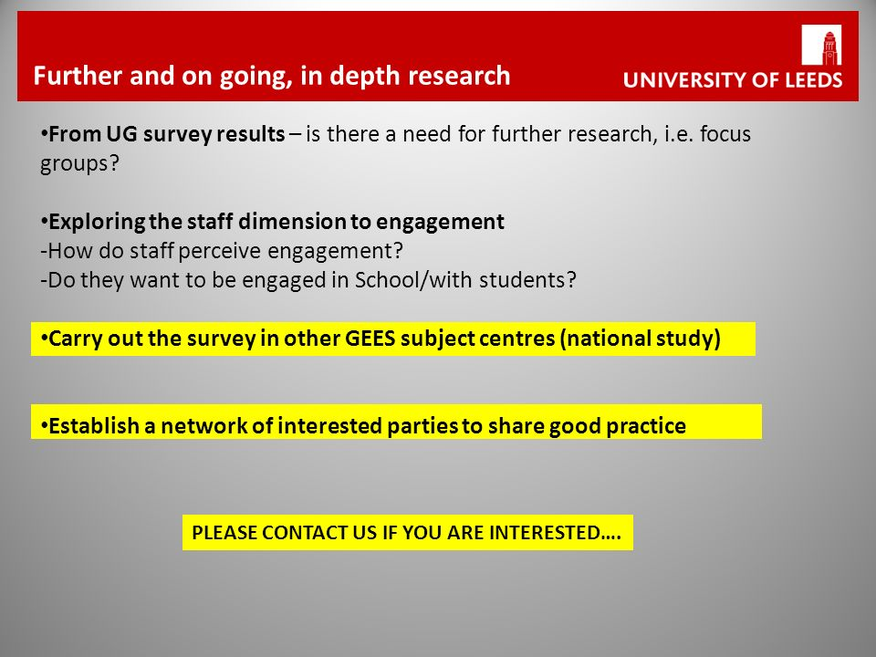 Further and on going, in depth research From UG survey results – is there a need for further research, i.e.