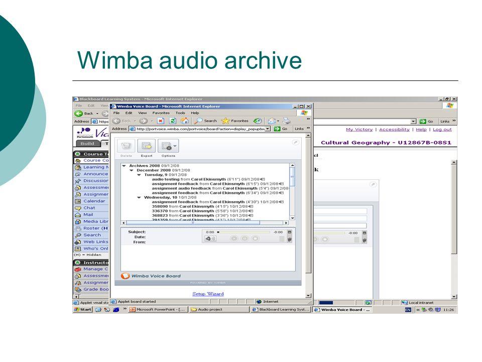 Wimba audio archive