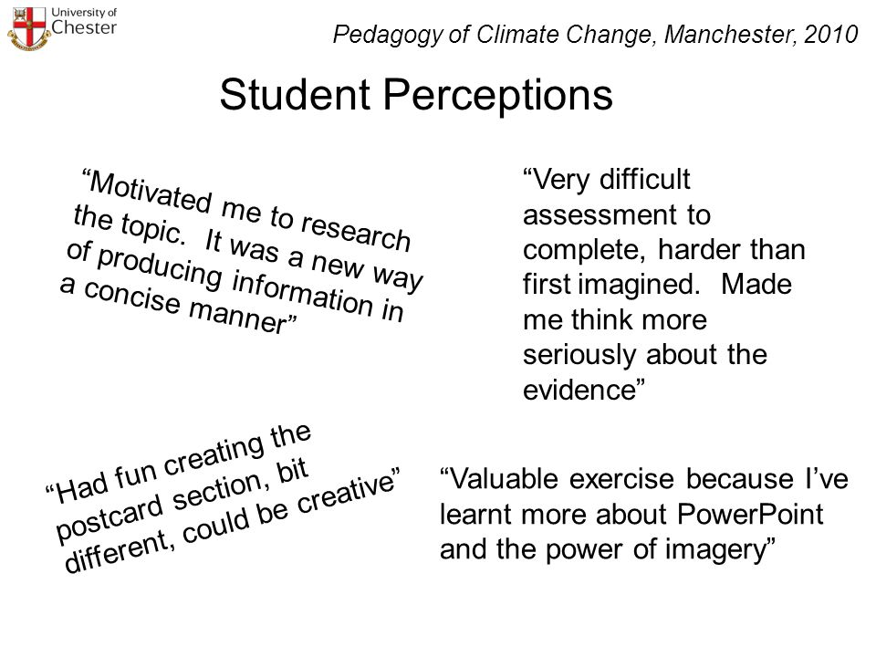 Student Perceptions Motivated me to research the topic.