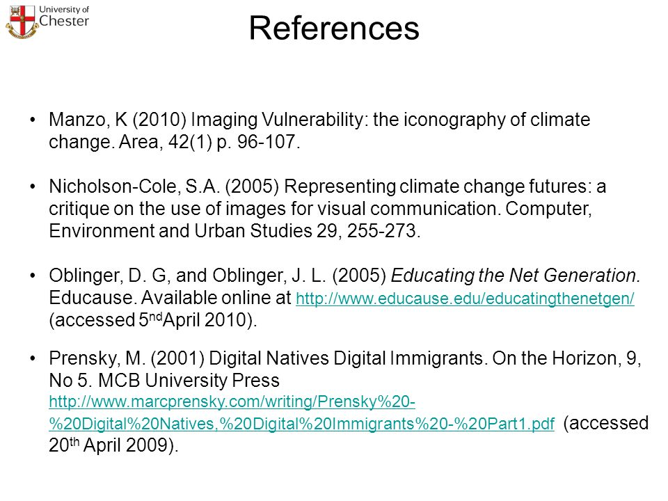 Manzo, K (2010) Imaging Vulnerability: the iconography of climate change.