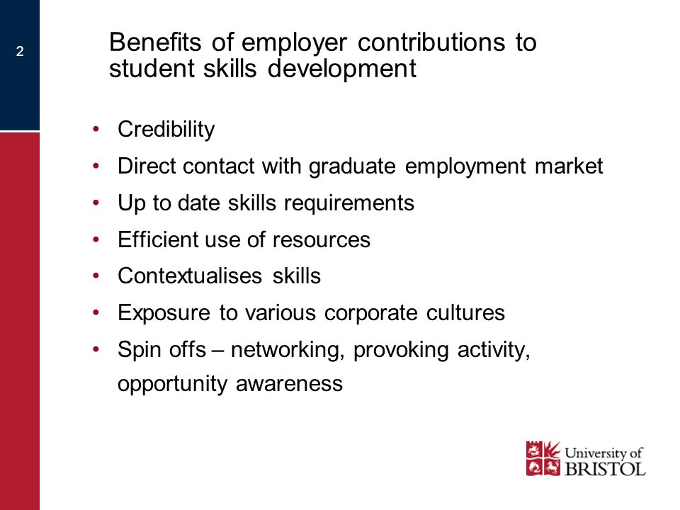2 Benefits of employer contributions to student skills development Credibility Direct contact with graduate employment market Up to date skills requirements Efficient use of resources Contextualises skills Exposure to various corporate cultures Spin offs – networking, provoking activity, opportunity awareness