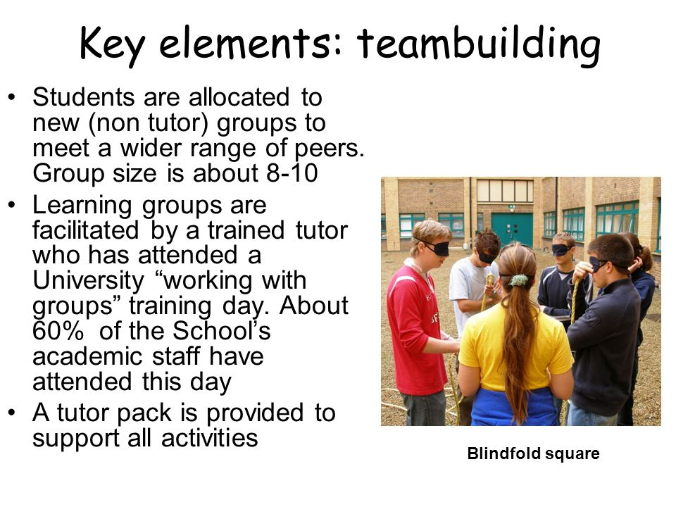Key elements: teambuilding Students are allocated to new (non tutor) groups to meet a wider range of peers.