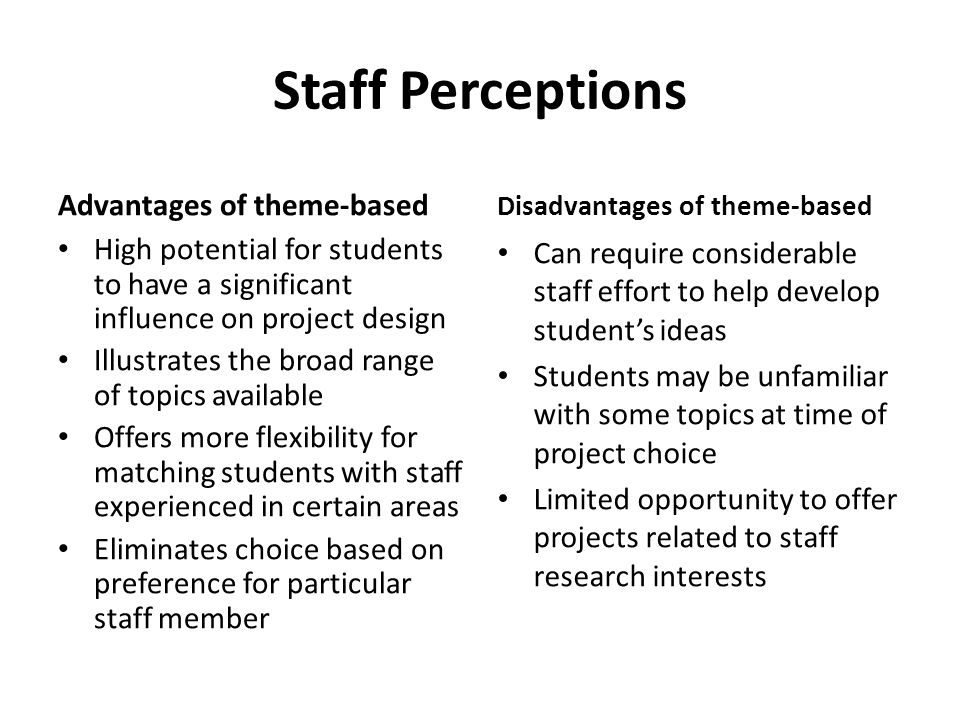 Staff Perceptions Advantages of theme-based High potential for students to have a significant influence on project design Illustrates the broad range of topics available Offers more flexibility for matching students with staff experienced in certain areas Eliminates choice based on preference for particular staff member Disadvantages of theme-based Can require considerable staff effort to help develop students ideas Students may be unfamiliar with some topics at time of project choice Limited opportunity to offer projects related to staff research interests