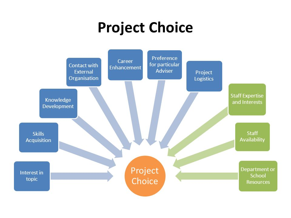 Project Choice Interest in topic Skills Acquisition Knowledge Development Contact with External Organisation Career Enhancement Preference for particular Adviser Project Logistics Staff Expertise and Interests Staff Availability Department or School Resources