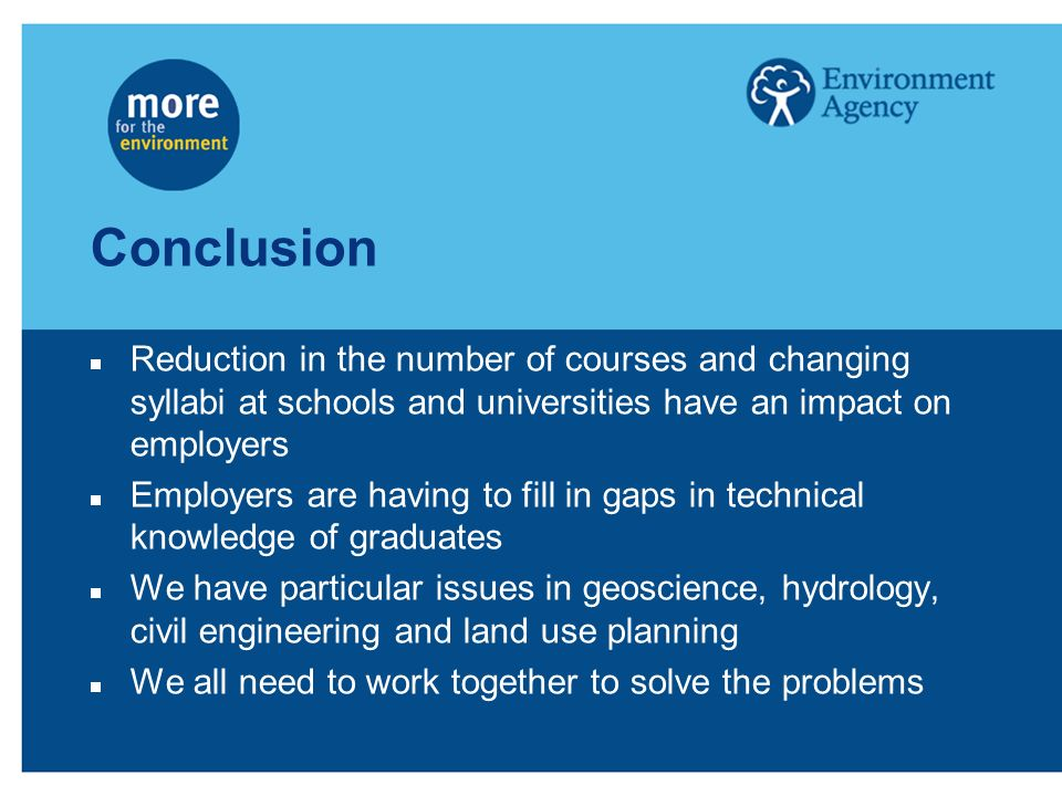 Conclusion Reduction in the number of courses and changing syllabi at schools and universities have an impact on employers Employers are having to fil