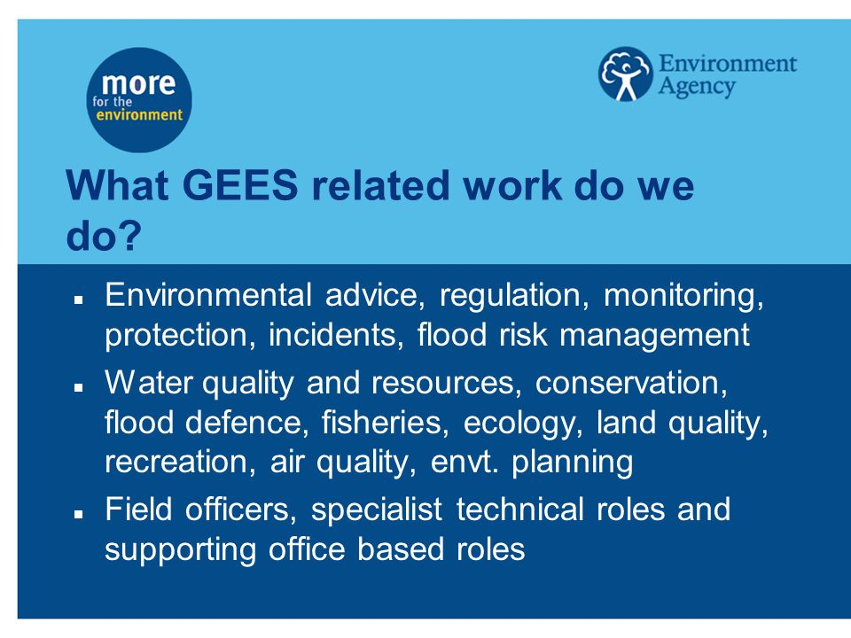 What GEES related work do we do? Environmental advice, regulation, monitoring, protection, incidents, flood risk management Water quality and resource