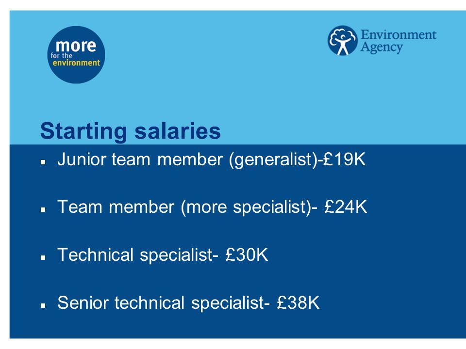 Starting salaries Junior team member (generalist)-£19K Team member (more specialist)- £24K Technical specialist- £30K Senior technical specialist- £38K