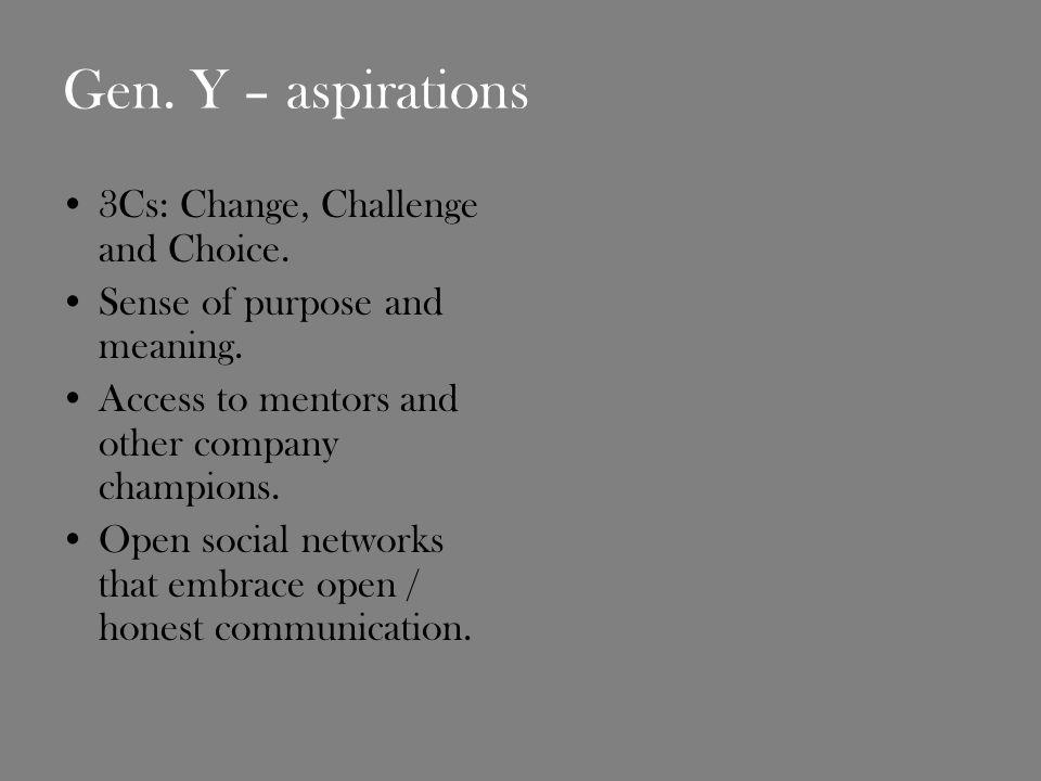 Gen. Y – aspirations 3Cs: Change, Challenge and Choice.