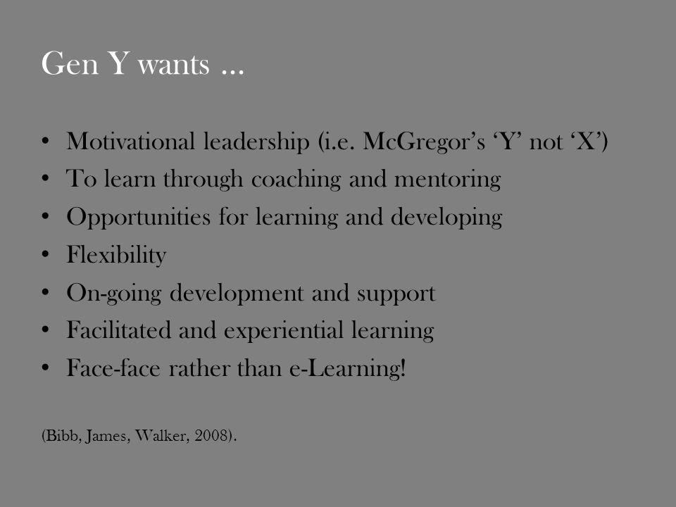 Gen Y wants... Motivational leadership (i.e.