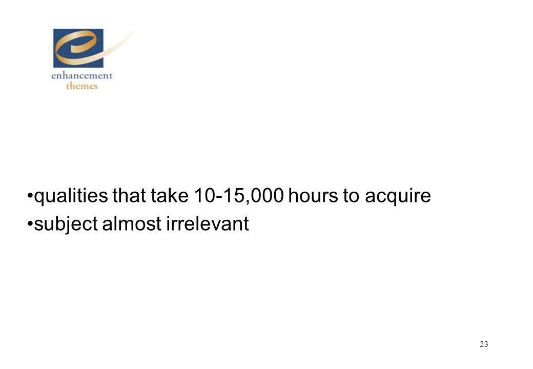 23 qualities that take 10-15,000 hours to acquire subject almost irrelevant
