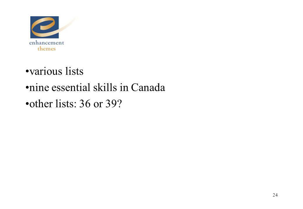 24 various lists nine essential skills in Canada other lists: 36 or 39