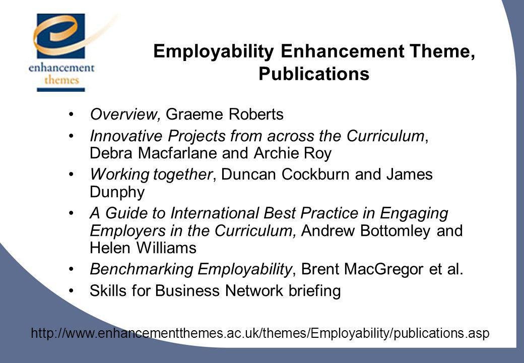 8 Employability Enhancement Theme, Publications Overview, Graeme Roberts Innovative Projects from across the Curriculum, Debra Macfarlane and Archie Roy Working together, Duncan Cockburn and James Dunphy A Guide to International Best Practice in Engaging Employers in the Curriculum, Andrew Bottomley and Helen Williams Benchmarking Employability, Brent MacGregor et al.