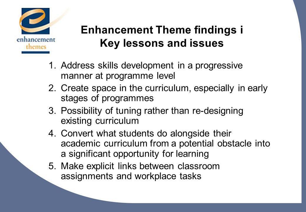 9 Enhancement Theme findings i Key lessons and issues 1.Address skills development in a progressive manner at programme level 2.Create space in the curriculum, especially in early stages of programmes 3.Possibility of tuning rather than re-designing existing curriculum 4.Convert what students do alongside their academic curriculum from a potential obstacle into a significant opportunity for learning 5.Make explicit links between classroom assignments and workplace tasks
