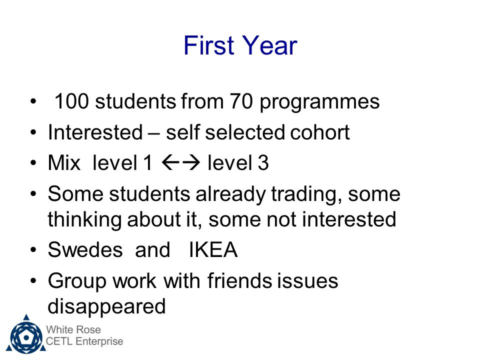 First Year 100 students from 70 programmes Interested – self selected cohort Mix level 1 level 3 Some students already trading, some thinking about it