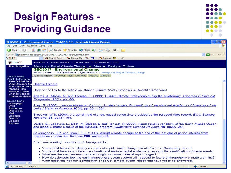 Design Features - Providing Guidance