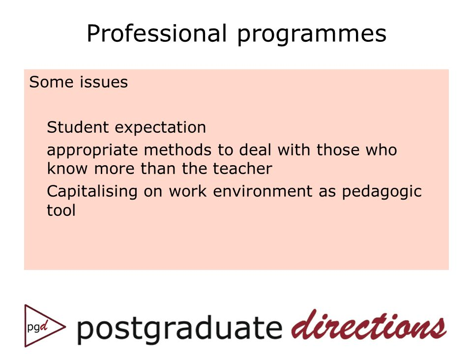 Professional programmes Some issues Student expectation appropriate methods to deal with those who know more than the teacher Capitalising on work env
