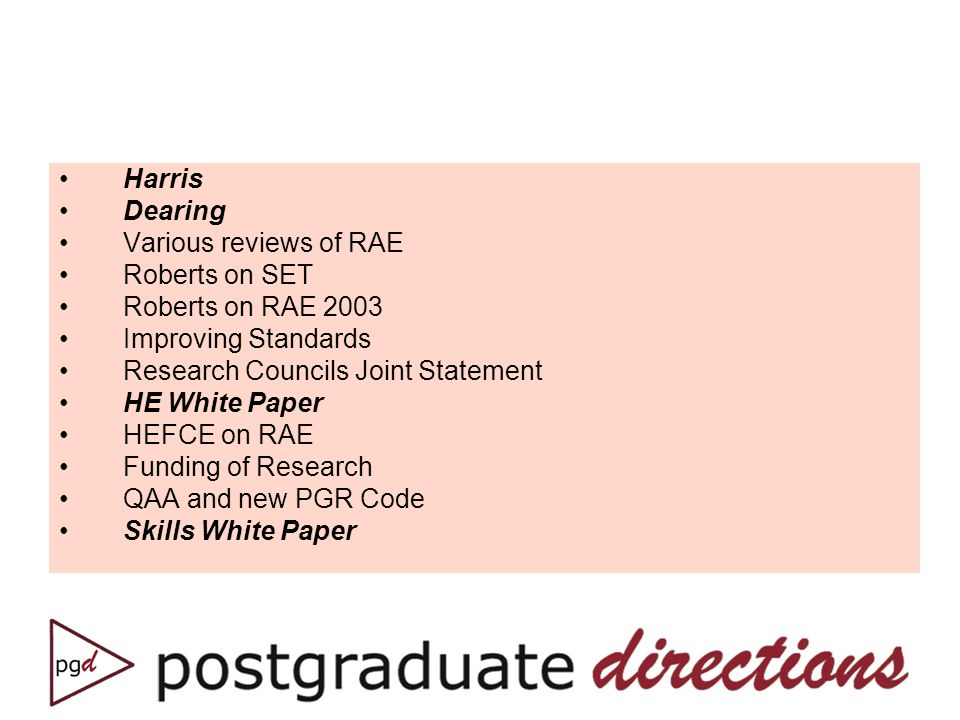 Harris Dearing Various reviews of RAE Roberts on SET Roberts on RAE 2003 Improving Standards Research Councils Joint Statement HE White Paper HEFCE on RAE Funding of Research QAA and new PGR Code Skills White Paper