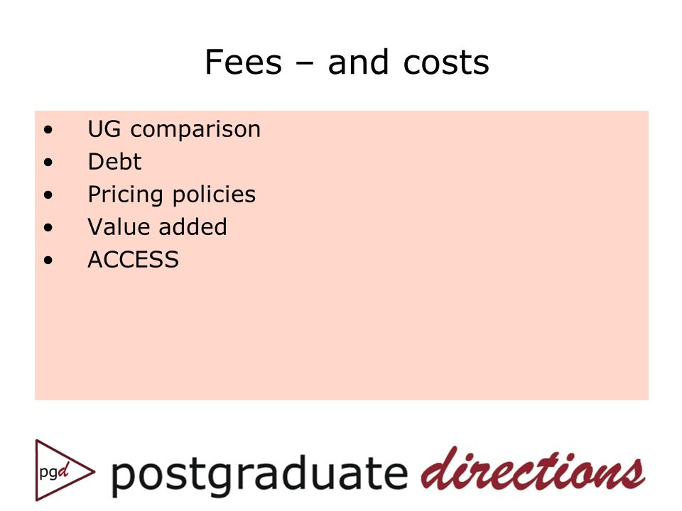 Fees – and costs UG comparison Debt Pricing policies Value added ACCESS