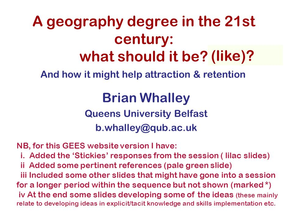 GEES conference 2007 What is the greatest problem we face with our students (please vote, for all of the following) Retention Engagement Attending lectures Attending tutorials Results: too long a tail –ie too many 3rds and 2iis, or too few 1st and 2i Others.