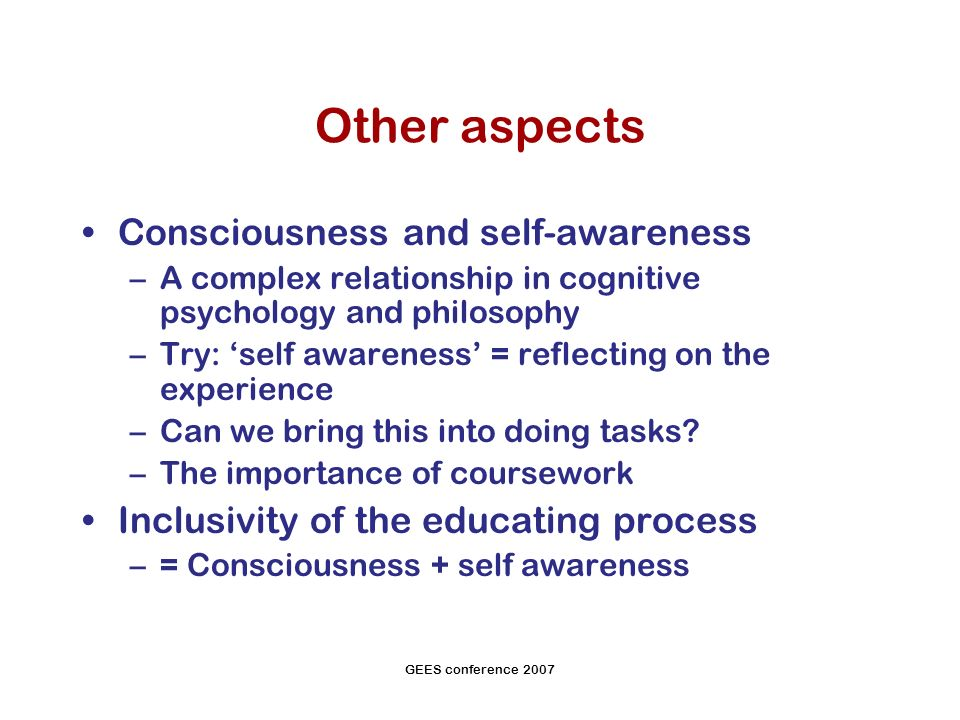 GEES conference 2007 Other aspects Consciousness and self-awareness –A complex relationship in cognitive psychology and philosophy –Try: self awareness = reflecting on the experience –Can we bring this into doing tasks.
