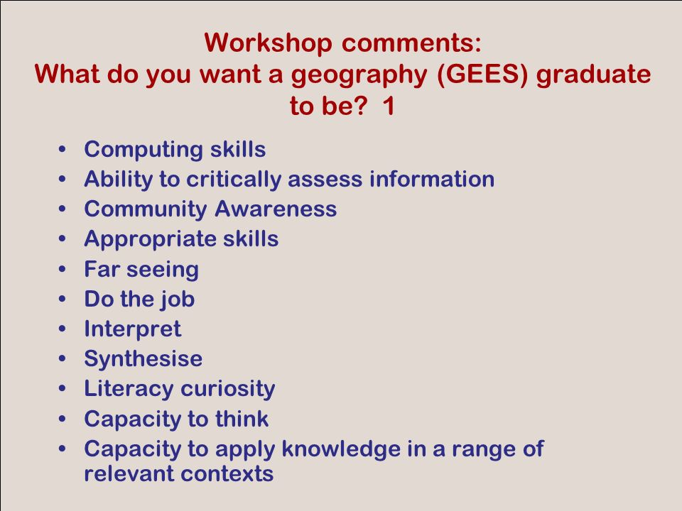 GEES conference 2007 Finally, consider the following points from Bryan and Clegg, 2006 Innovative Assessment in Higher Education p 225 Active participation in authentic, real-life tasks that require he application of existing knowlege and skills Participation in a dialogue an conversation between learners (including tutors) Engagement with and development of criteria and self- regulation of ones own work Employment of a range of diverse assessment modes and methods adapted from different subject disciplines Opportunity to develop and apply attributes such as reflection, resilience, resourcefulness and professional judgement and conduct in relation to problems Acceptance of the limitations of judgement and the value of dialogue in developing new ways of working