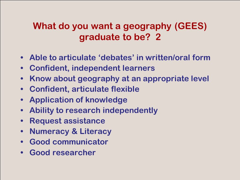 GEES conference 2007 Tacit knowledge examples we might identify How to do/decide/check/estimate… Project planning Tools to use Methods to use What to do and what not (and why)
